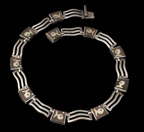 Los Castillo Mexican silver onix negro Necklace ~ mod figural dsgn