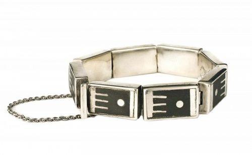 Los Castillo Mexican silver onix negro mod geometric Bracelet