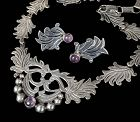 Mexican Deco silver amethyst floral Necklace Earrings set