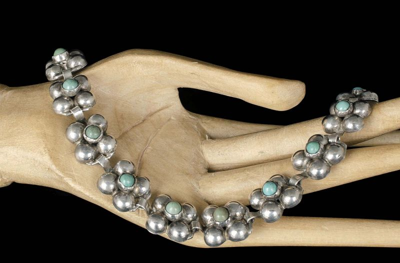 classic Fred Davis Mexican Deco silver turquoise Bracelet