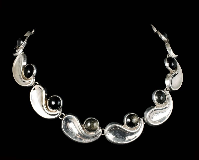 """A.S. Mexican silver and obsidian modernist """"comma"""" Necklace"""