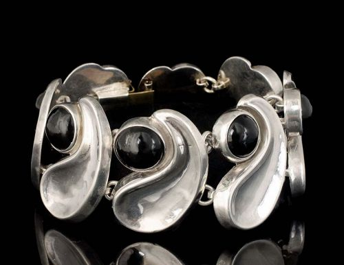"A.S. Mexican silver and obsidian modernist ""comma"" Bracelet"