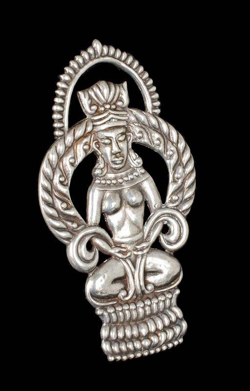 "3"" Gerardo Lopez Mexican silver repousse Thai goddess Pin Brooch"