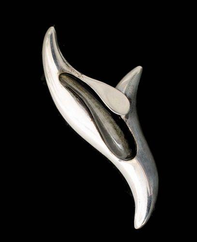 Erika Hult de Corral Mexican silver chrysoprase Pin Brooch
