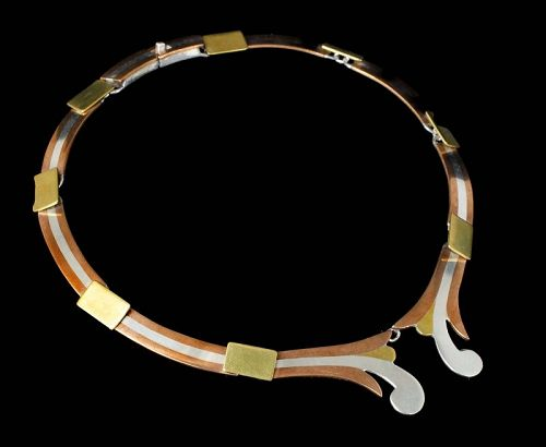 Victoria Egyptian Revival Mexican silver mixed metals Necklace