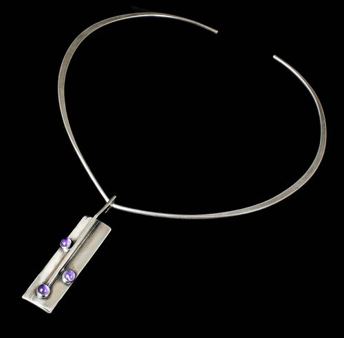 N E From Denmark modernist silver and amethyst Pendant Necklace