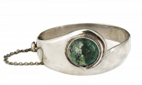 1950s Mexican silver moss agate hinged Bracelet