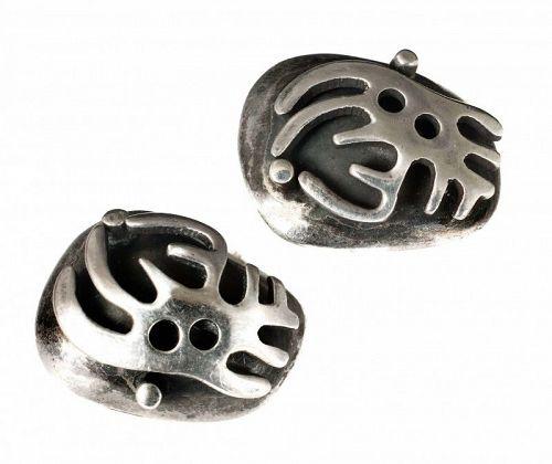 Salvador Teran Mexican silver biomorphic Earrings