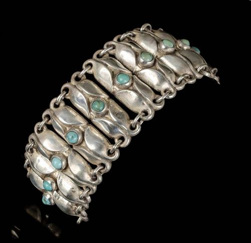 Avila de la Borda Mexican Deco silver turquoise Bracelet