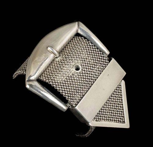 massive Castelan Mexican Deco silver mesh buckle Bracelet
