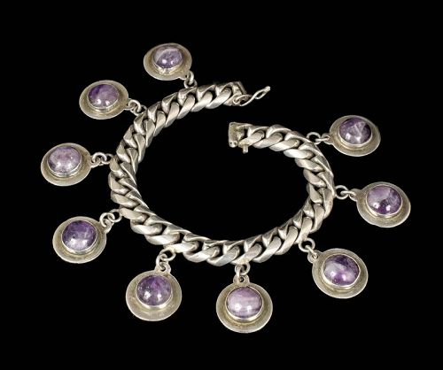 chunky Mexican Deco silver amethyst charm Bracelet