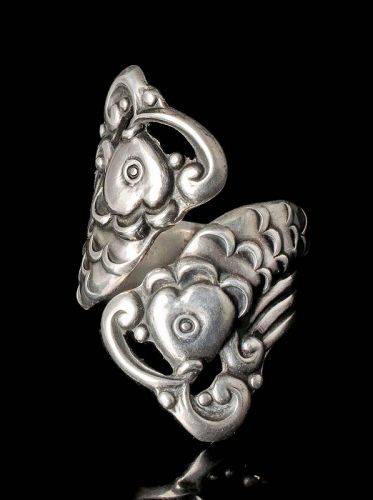 vintage Mexican silver by pass RIng ~ Margot de Taxco koi fish dsgn