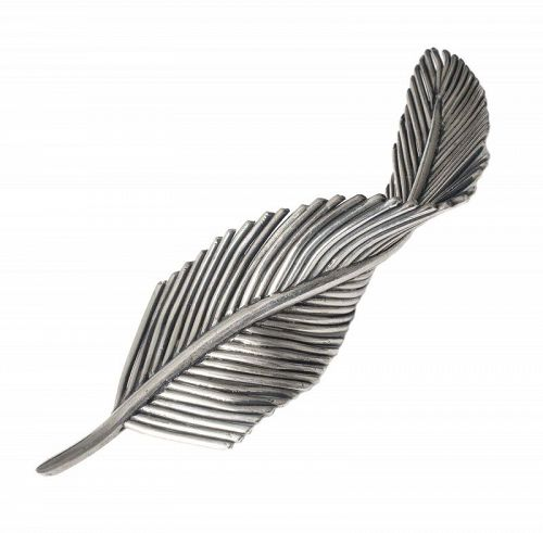 Antonio Pineda Mexican silver modernist leaf Pin Brooch