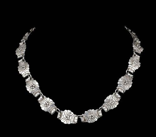 VIctoria Ana Brilanti Mexican Deco  silver Necklace ~ cactus flowers