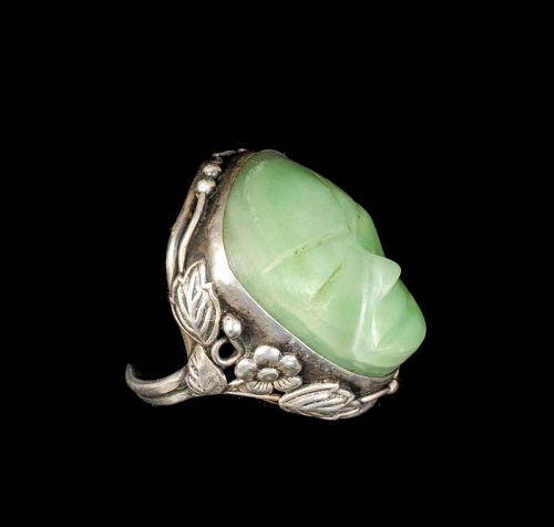 "unusual Mexican Deco silver and stone ""mask"" Ring"