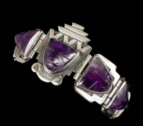 "Eagle 22 Mexican silver and amethyst ""mask"" Bracelet"