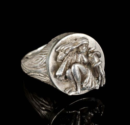 vintage Mexican silver sculptural zodiac Ring ~ Aquarius