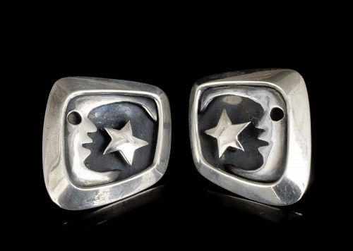 Salvador Teran Mexican silver modernist Earrings ~ moon and star