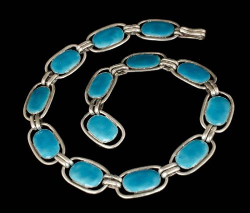 rare Enrique Ledesma Mexican silver and blue enamel Necklace