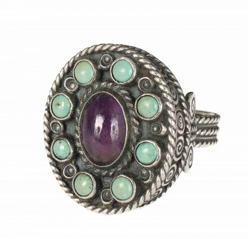 Dominguez Mexican Deco silver jeweled Ring