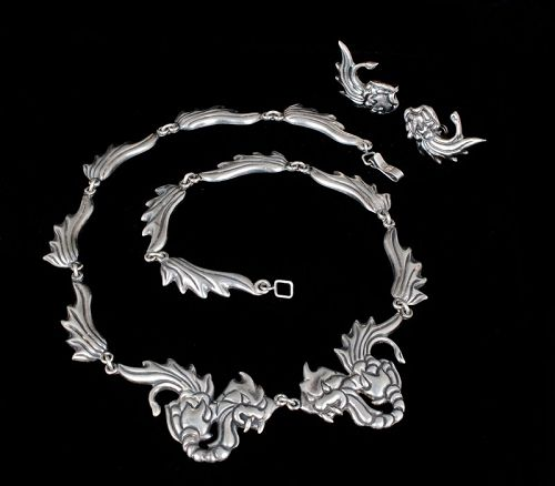 Mexican Deco silver Chinese dragons Necklace Earrings set