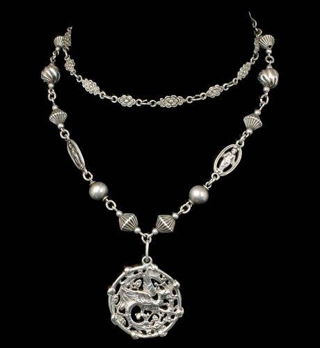 Peruzzi style Italian Deco 800 silver griffin Pendant Necklace