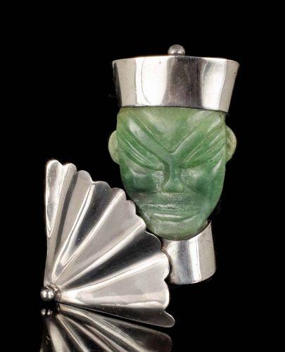 Elna Mexican Deco silver stone Pin Brooch ~ man with fan