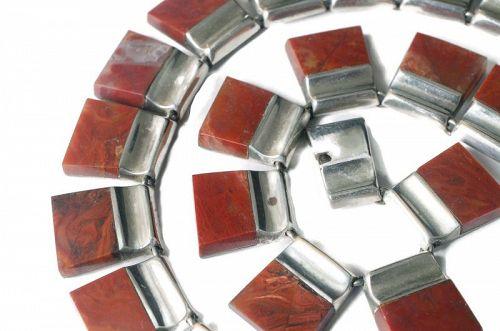 Enrique Ledesma Mexican silver Necklace ~ rare reddish brown agate
