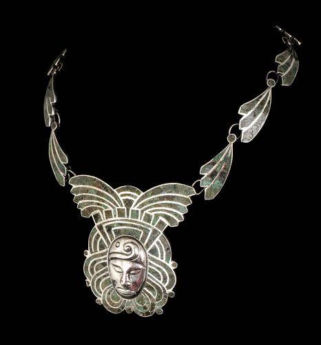 Mexican Deco mozaico azteca silver repousse mask Necklace