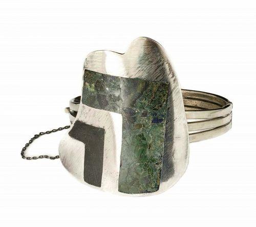 Enrique Ledesma Mexican silver stone inlay hinged Bracelet