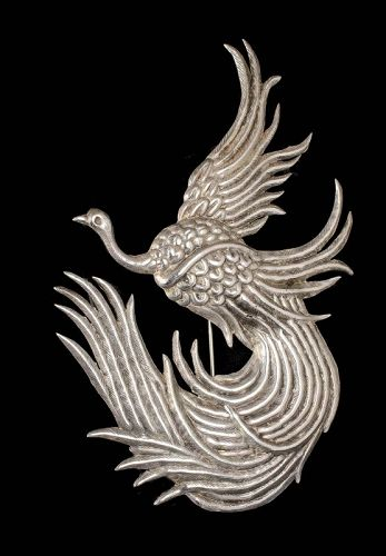 """4.25"""" Mexican Deco silver repousse bird of paradise Pin Brooch"""