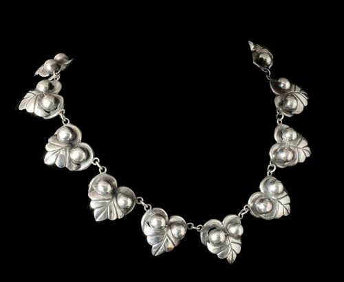 classic Mexican Deco silver bead and leaf / owl Necklace