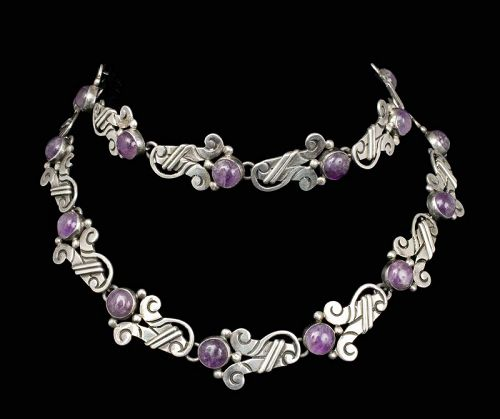 heavy Mexican silver and amethyst Necklace Bracelet set