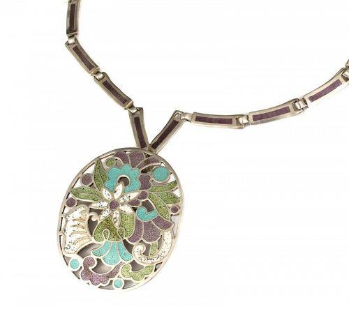 Jaime Quiroz Alba Mexican silver enamel Pin / Pendant Necklace