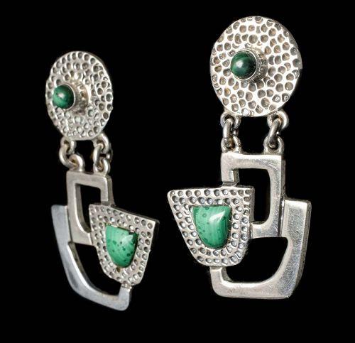Erika Hult de Corral Ric Mexican silver malachite Earrings ~ Taxco mod