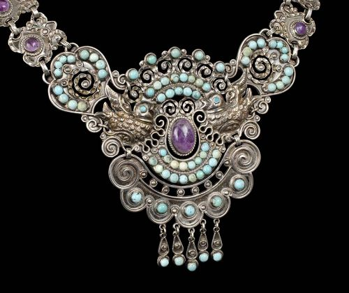 Rivera Matl style Mexican silver jeweled palomas Necklace