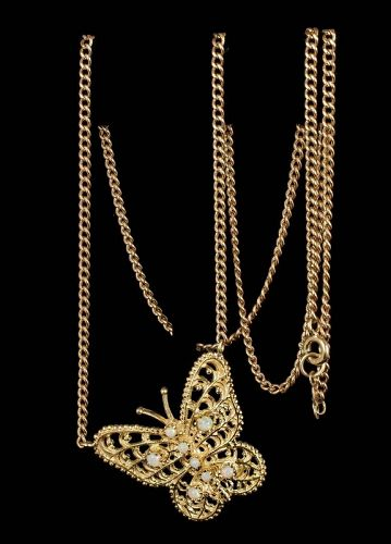 14k yellow gold and opals butterfly Pendant Necklace