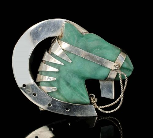 Mexican Deco silver horse and horseshoe Pin Brooch