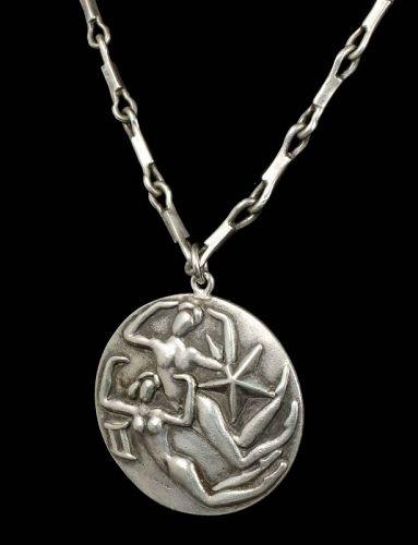 Margot de Taxco Mexican silver zodiac Pendant Necklace - Gemini
