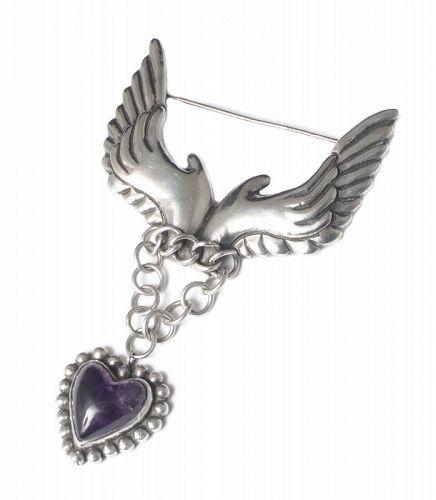 Hubert Harmon Mexican silver amethyst Pin Brooch ~ winged hands heart