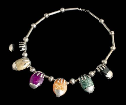 """early Mexican modernist silver """"hand-and-stone"""" Necklace"""