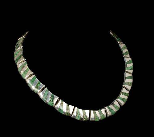 Enrique Ledesma Mexican silver azur-malachite modernist Necklace