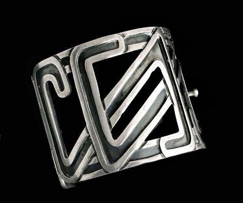 rare Margot de Taxco Mexican silver geometric Bracelet des 5384
