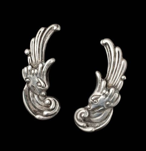 "Los Castillo Mexican silver repousse ""winds"" Earrings"