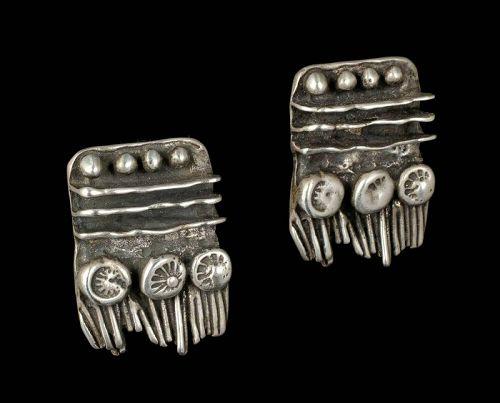 1960s-70s studio handmade sterling silver brutalist Earrings