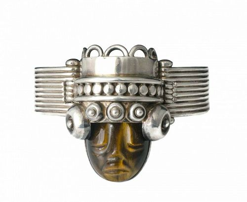 """Los Ballesteros Mexican silver and tiger's eye """"mask"""" Bracelet"""
