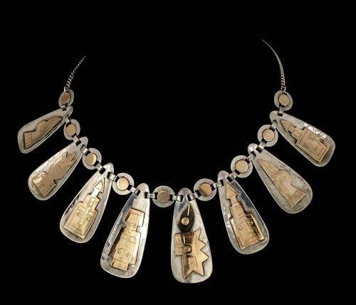 Industria Peruana silver 18k figural Necklace ~ Graziella Laffi style
