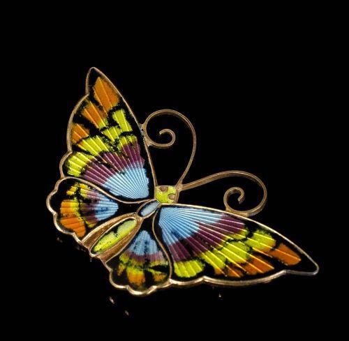 David Andersen Norway silver butterfly Pin Brooch colorful enamels