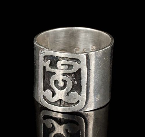 Citlali Mexican silver cigar band Ring ~ wide with glyph applique