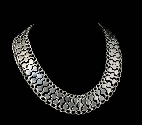 """FarFan Mexican silver modernist """"puzzle"""" Necklace"""